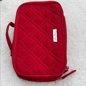 VERA BRADLEY RED QUILTED NYLON COSMETIC CASE